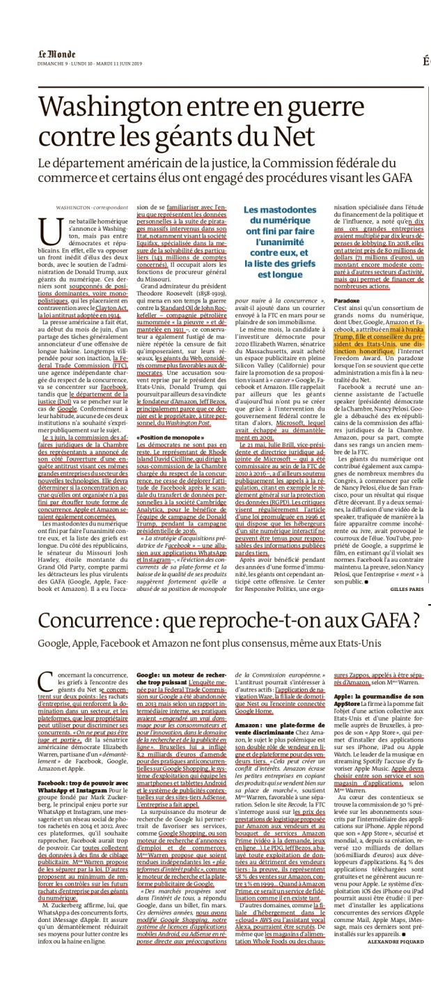 20190611_Le Monde GAFA antimonopolio